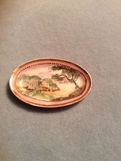 Antique Handpainted Gold Trimmed Serving Plate Dollhouse Miniature Artist