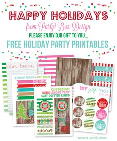 Free Holiday Printables  Includes:  Cocktail Flags & Sign | Gift Tags| Wine Tags| Water Bottle Labels | Dear Santa Letter | Food Tents & Sign