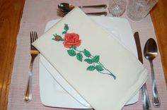 Valentine's Day Napkins with Simple Rose. Say it with by embrant