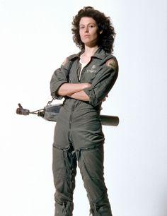Sigourney Weaver as Ellen Ripley in the Alien franchise. Complete bad ass.