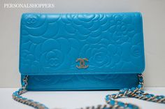 STUNNING 12P CHANEL TURQUOISE GHW CAMELLIA LEATHER WALLET-ON-A-CHAIN WOC BAG | eBay