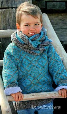 детская кофта с жаккардовым узором и шарф-хомут фото к описанию