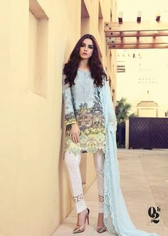 Digital printed lawn suit with schiffli embroidered #chiffon_sleeves and dupatta