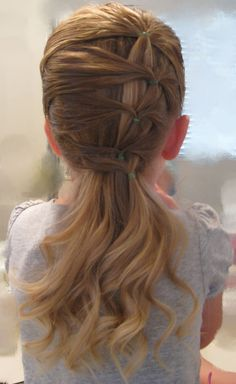fancy row of ponytails. I finished off C's hair with a braid, and it was adorable and stayed in great! I want to do this in my hair now! Cute Little Girl Hairstyles, Pretty Hairstyles, Teenage Hairstyles, Female Hairstyles, Toddler Hairstyles, Natural Hairstyles, Girl Hair Dos, Kid Hair, For Elise