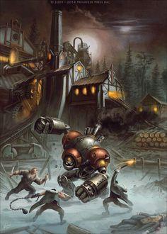 The Lumberjack, Mariusz Gandzel on ArtStation Arte Steampunk, Steampunk Artwork, Steampunk Design, Arte Robot, Robot Art, Fantasy World, Fantasy Art, Steam Art, Steam Punk