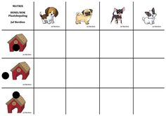 Matrix Huisdieren Hond Hok 1 Juf Berdien thema Huisdieren Hondenhok Plaatsbepaling volledige spel Facebookgroep: 'Juf Berdien' Visual Perception Activities, Good Company, Safari, School, Dogs, Rabbit, Cards, Math, Preschool