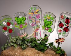 Hand Painted Lady Bug, Dragonfly, Strawberries and Frogs Fun Garden Stakes on Slumped Bottles
