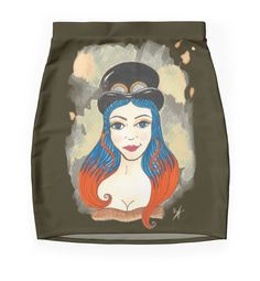 """Blue and Orange Steampunk"" Pencil Skirts by Victoria Thorpe 