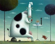 Pinzellades al món: Les vaques de Rob Scotton / Las vacas / Cows by Rob Scotton Cartoon Cow, Cute Cartoon, Cute Sheep, Farm Art, Children's Book Illustration, Book Illustrations, Whimsical Art, Figure Painting, Art History