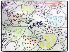 activité paques, graphisme poule, enfant