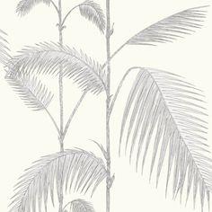 Papier peint jungle gris Palm Leaves - Cole and Son - Au fil des Couleurs Palm Leaf Wallpaper, Print Wallpaper, Wallpaper Roll, Coastal Wallpaper, Toile Wallpaper, Victorian Wallpaper, Luxury Wallpaper, Grey And White Wallpaper, Cole And Son Wallpaper