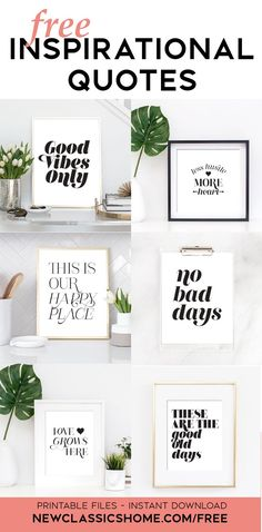 6 free INSPIRATIONAL PRINTS to decorate your home or office. Download and print today. Be inspired every day with these 6 professionally designed inspirational prints for your home. Home Decor Quotes, Wall Art Quotes, Home Decor Wall Art, Printable Designs, Printable Wall Art, Printables, Free Inspirational Quotes, Motivational, Home Binder