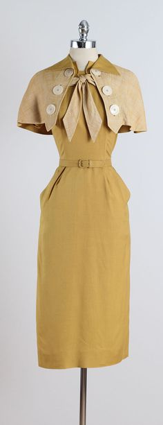 Vintage 1940s Paul Sachs Mustard Yellow Cotton Linen Dress & Shawl image 10