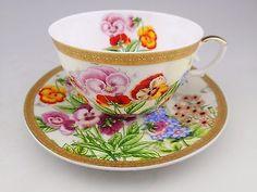 Handpainted Bouquet Gold Pedestal Rare Handle Shafford Tea Cup and Saucer Set • $65.00