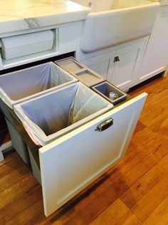 Compost bucket integrated into garbage/recycle bin pullout!