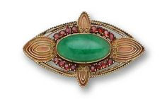 A jadeite jade, garnet and plique-à-jour brooch, Louis Comfort Tiffany, circa 1910