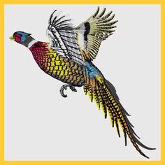 Embroidered Pheasant in Flight