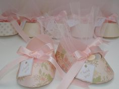 Shabby Chic Baby Shower Favor - Baby Girl's Birthday - Baby Girl Shoe Gift Box Favor (Set of 10)