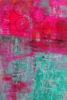 Original Acrylic Abstract Painting on Paper with Hot Pink and Turquoise, Fine Modern Art on Etsy, $35.00