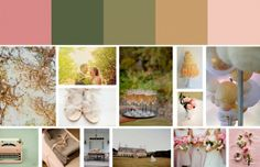 Colour palette: Dusky pink, dark pea green, light moss green, caramel/peach and iced pink Vintage Wedding Colors, Vintage Colors, Vintage Pink, Olive Green Weddings, Olive Wedding, Green Colors, Vibrant Colors, Pink Color, Colours