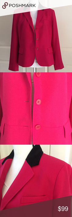 Talbots Lipstick Pink Blazer w/Black Velvet Collar This is a gorgeous wool blazer with a black velvet collar!!  Fully lined, princess seaming, back vent, three button front, with three pockets, one chest and two flap.  Also has four button cuff detail.  Size 16 Talbots Jackets & Coats