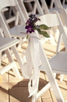 Delicate seating details for your wedding ceremony at the Hilton Pensacola Beach Gulf Front Hotel.