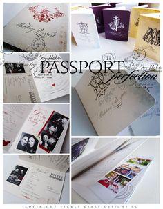 Passport invitations from www.secretdiary.co.za #Passportinvitations #weddinginvitations #weddingstationery
