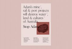 Stop Adani Poster — Emily Clarke Print Layout, Layout Design, Print Design, Web Design, Editorial Layout, Editorial Design, Layout Inspiration, Graphic Design Inspiration, Graphic Design Branding