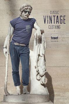 Case: Vintage statue イギリスの古着屋・Traidが制作したプリント広告。同社の掲げる「この世から服が捨てられることをなくそう」という理念を体現することを狙いとしたクリエイティブです。 ギリシャ彫刻の...