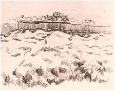 Enclosed Field by Vincent Van Gogh Drawing, Pencil, black chalk Saint-Rémy: October - 5-22, 1889