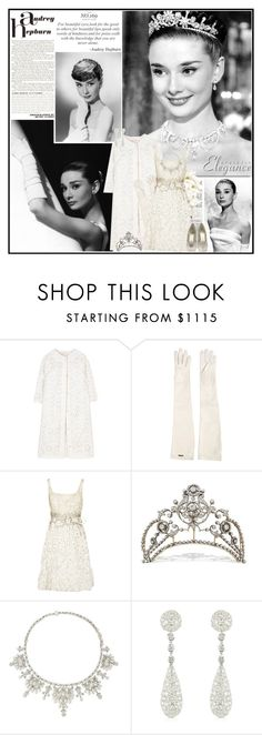 """""""Audrey Hepburn: White Beauty"""" by beautifully-eclectic ❤ liked on Polyvore featuring Giambattista Valli, Voom, Dsquared2, Valentino, Colucci Diamonds, Giuseppe Zanotti, white and audreyhepburn"""