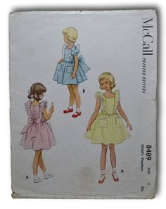 1951 McCall's Child's Pinafore Dress Vintage ORIGINAL Sewing Pattern #8489, Size 6, Cut/Complete by dewclawpatterns on Etsy