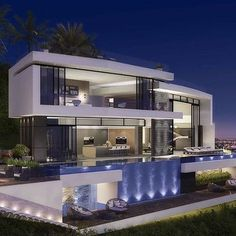 Architecture by Vantage Design Group. You can find Arquitetura and more on our website.Architecture by Vantage Design Group. Modern Architecture House, Modern House Design, Architecture Design, Modern Houses, Fancy Houses, Loft Design, Beautiful Modern Homes, Modern Mansion, Dream House Exterior