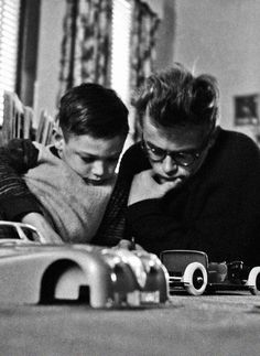 James Dean with his cousin, Marcus, photographed by Dennis Stock.