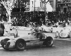 Prince Bira (Maserati 4CLT48) leads Juan Manuel Fangio (Maserati 4CLT48) and Benedicto Campos (Maserati 4CLT48) at the 1949 Roussillon Grand Prix.