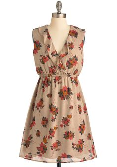 Sprig Break Dress - Mid-length, Tan, Floral, Ruffles, Sleeveless, Multi, Orange, Pink, Grey, Casual, A-line, Print