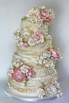 Wedding Cakes ruffled-wedding-cake by Coco Paloma Desserts. this is the most romantic, beautiful cake! - Austin-based pastry artist Paloma Efron, of Coco Paloma Desserts, gives us the scoop on how she created this romantic wedding cake. Beautiful Wedding Cakes, Gorgeous Cakes, Pretty Cakes, Amazing Cakes, Cake Wedding, Super Torte, Bolo Cake, Gateaux Cake, Occasion Cakes