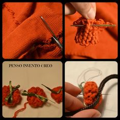 Mini-crocheted pumpkins with an old pullover