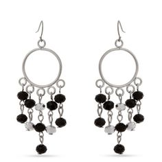 Erica Lyons  Silver-Tone Open Circle Chandelier Earrings (19 BAM) ❤ liked on Polyvore featuring jewelry, earrings, black, erica lyons, beading earrings, circular earrings, beaded chandelier earrings and beading jewelry