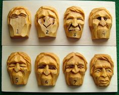 Progressive steps in carving a generic face. www.woodbeecarver.com