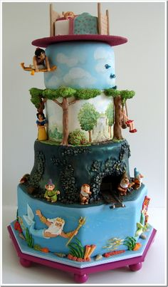 Disney cake! Each level is a different fairytale!