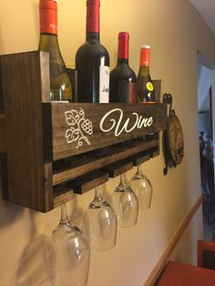 Personalized Wine Rack Engraved Carved Custom Rustic 4 Bottle Wall Mount Wine Rack with 4 Glass Slot Holder, Wall Decor, Primitive, Handmade by UpstateWoodwork on Etsy (null)