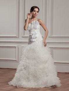 Strapless Ruffled Organza Wedding Dress with Lace Top Brands:AmarantaFreeship:YESFabric:Satin/Organza/TaffetaFabric(main):WeddingTailoring Time (Standard):20-25 DaysTailoring Time (Rush Order):15-20 DaysSilhouette:A-LineNeckline:Straight NecklineShoulder Strap:StraplessWaist:DroppedBack Detail:ZipperHemline:Floor LengthEmbellishment:Beading/RufflesFully…