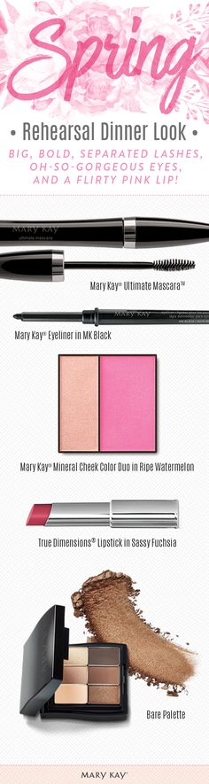 Create a gorgeous evening makeup look for your rehearsal dinner. Create the look of big, bold, separated lashes that last all day with the extremely volumizing, superthickening, all-in-one formula of Mary Kay® Ultimate Mascara™ and make lips pop with True Dimensions® Lipstick in Sassy Fuchsia!