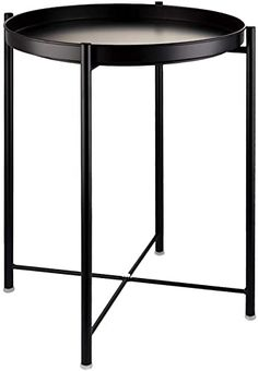 Amazing offer on EKNITEY End Table,Folding Metal Side Table Waterproof Small Coffee Table Sofa Side Table Removable Tray Living Room Bedroom Balcony Office (Black) online - Chicprettygoods Metal End Tables, Modern Side Table, Round Side Table, Side Tables, Small Coffee Table, Small Tables, Bedroom Balcony, Living Room Bedroom, Wooden Sofa Designs