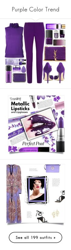 """""""Purple Color Trend"""" by yours-styling-best-friend ❤ liked on Polyvore featuring purple, Gucci, Le Ciel Bleu, Jimmy Choo, Yves Saint Laurent, Butter London, Kate Spade, Yankee Candle, NARS Cosmetics and Victoria's Secret"""