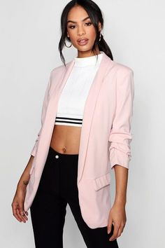Isla Tailored Ruched Sleeve Pocket Blazer by Boohoo. Wrap up in the latest coats and jackets and get out-there with your outerwearBreathe life into your new season layering with the latest coats and jackets from boohoo. Supersize your silhouette in a padded jacket, stick to sporty styling ... #boohoo #blazers
