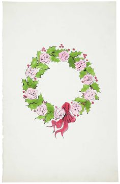 WREATH: Andy Warhol, Wreath, ink and watercolor on paper, Drawn circa 1956 © The Andy Warhol Foundation for the Visual Arts, Inc. Merry Christmas To You, Christmas Greeting Cards, Christmas Art, Christmas Images, Painting Inspiration, Art Inspo, Andy Warhol Drawings, Andy Warhol Museum, American Artists