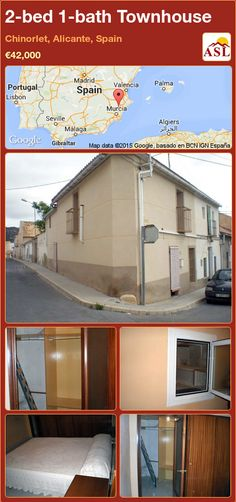 Townhouse for Sale in Chinorlet, Alicante, Spain with 2 bedrooms, 1 bathroom - A Spanish Life Murcia, Valencia, Portugal, Alicante Spain, Townhouse, Restaurant, Living Room, Bathroom, Bed