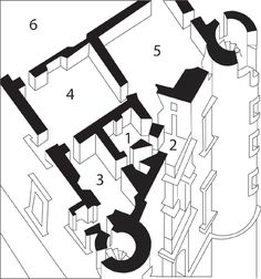 Axonometric detail of the Urbino ducal palace. The rooms are: 1) studiolo 2) loggia 3) dressing chamber 4) duke's bedchamber 5) sala d'udienza 6) sala degli angeli. Drawn by author and Amelia Amelia, based on a palace axonometric by Renato Bruscagli.